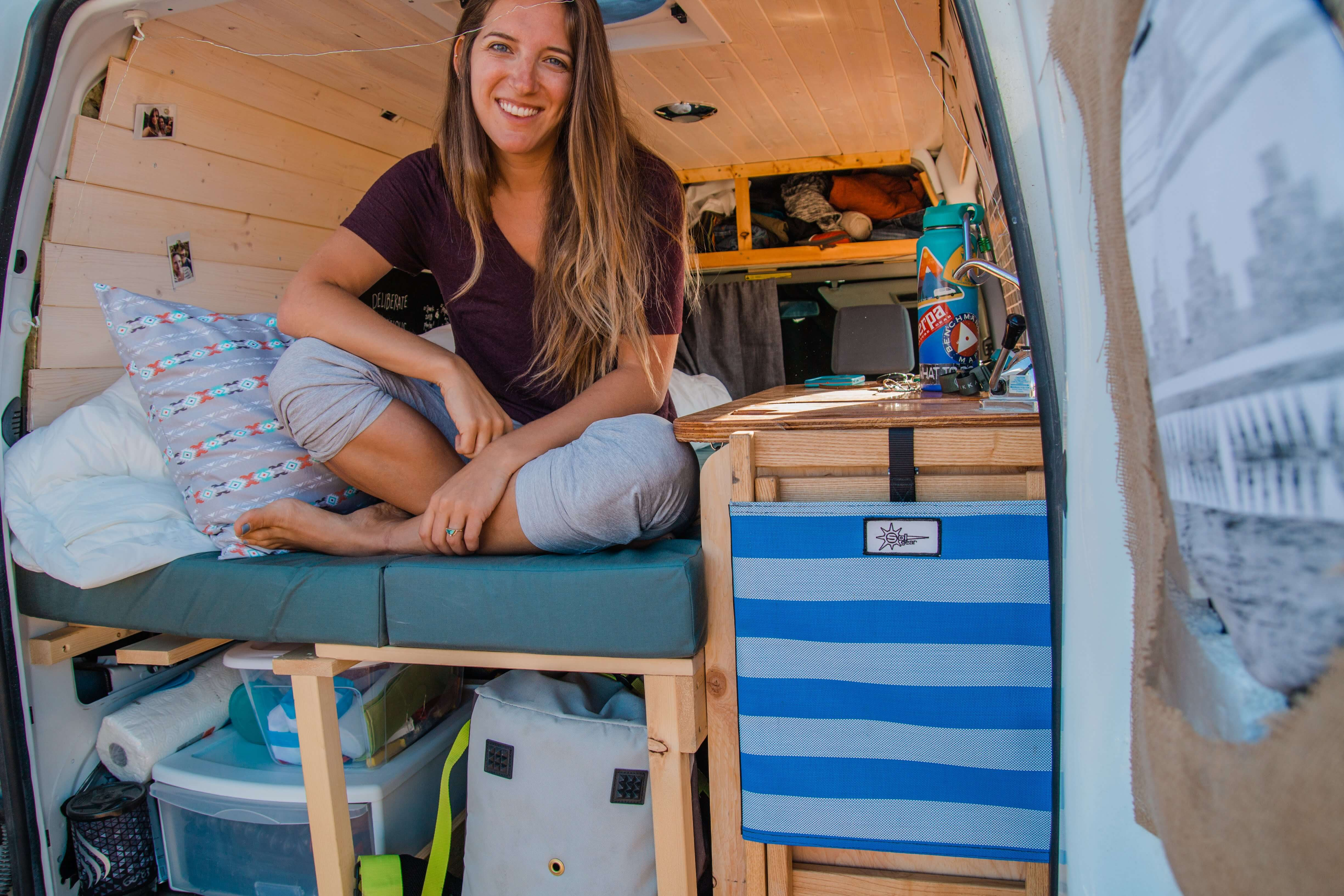 solo female van life renovation Instagram couple blog