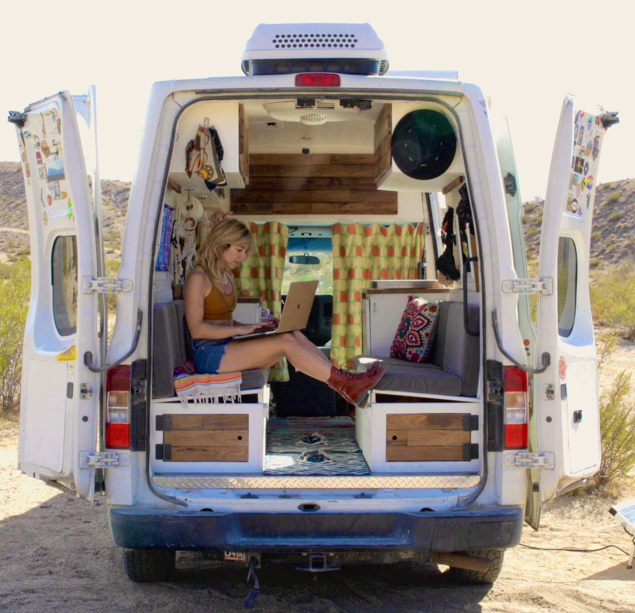 camper van girl working remotely advice digital nomad solo female travel united states