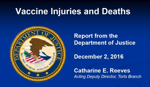 December-2016 report vaccine injuries and deaths DOJ