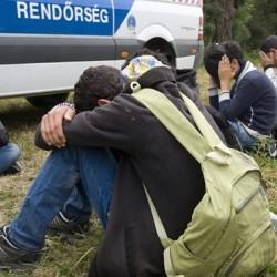migránsok rendőrautó mellett