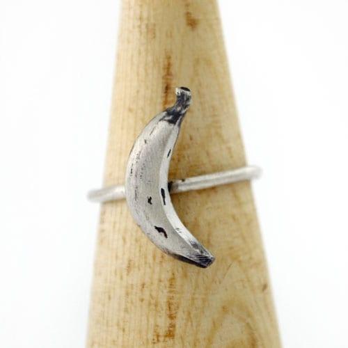 Anillo de plata Plátano, banana de plata
