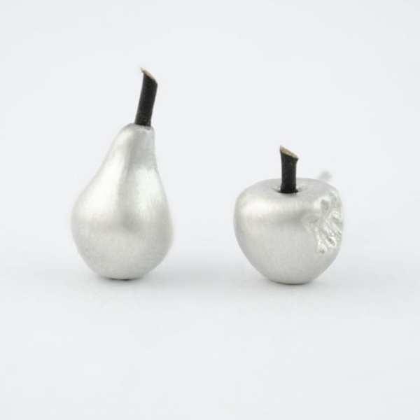 pendientes de plata pera y manzana