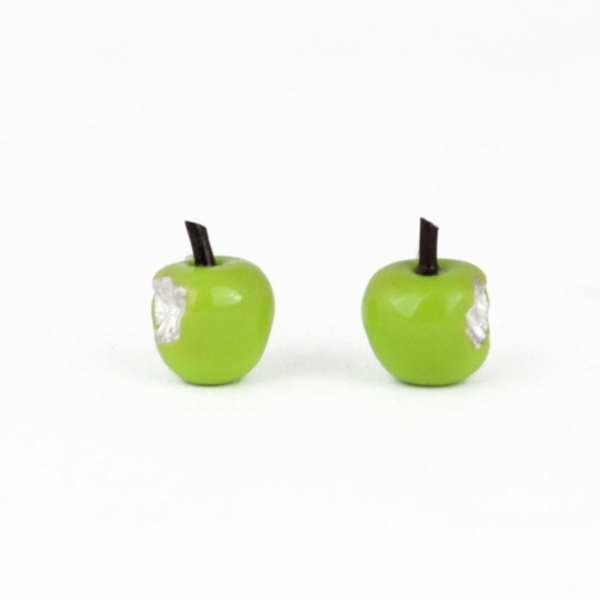 pendientes de plata esmaltada manzanas verdes
