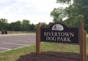 Rivertown Dog Park Routed Plastic Sign with Logo Panel Insert