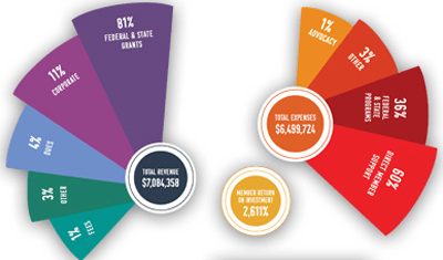 infographic of financial intake and distribution