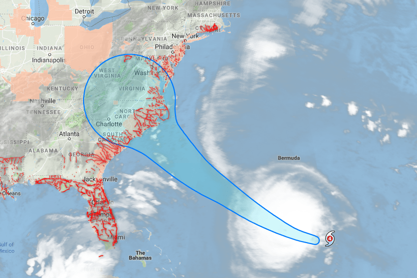 google hurricane florence on tracking map