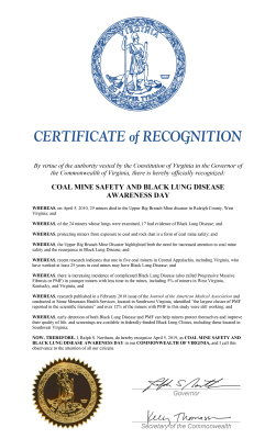 Governor Northam's proclamation for Coal Mine Safety and Black Lung Disease Awareness Day