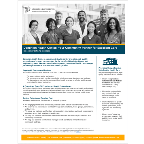 Value Template – Hospital & Health System Partners