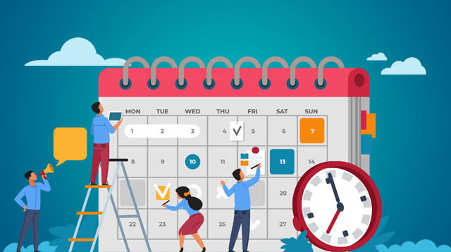Calendar icon with illustrated people working on it