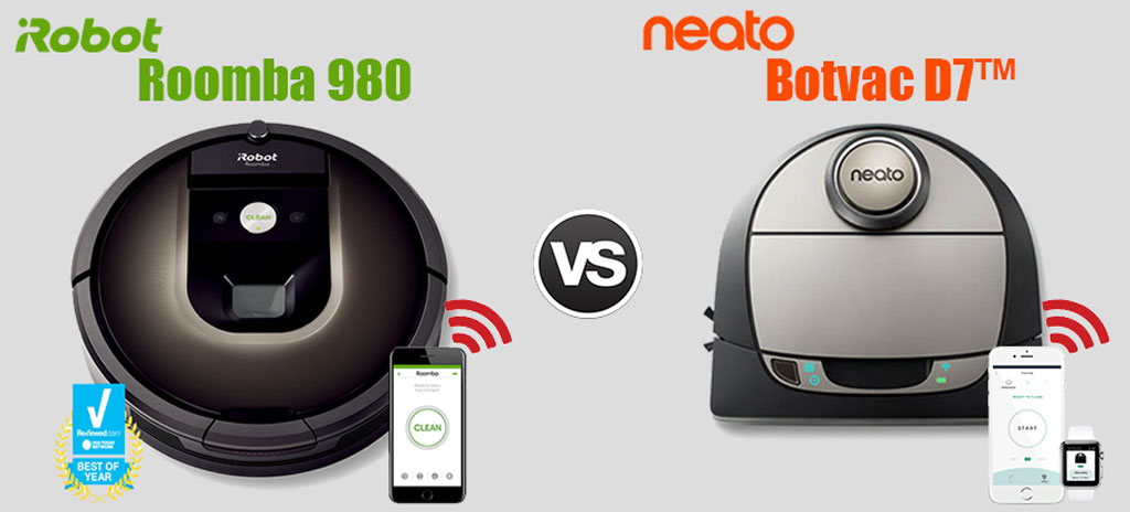Neato Botvac d7™ Connected vs the iRobot® Roomba® 980
