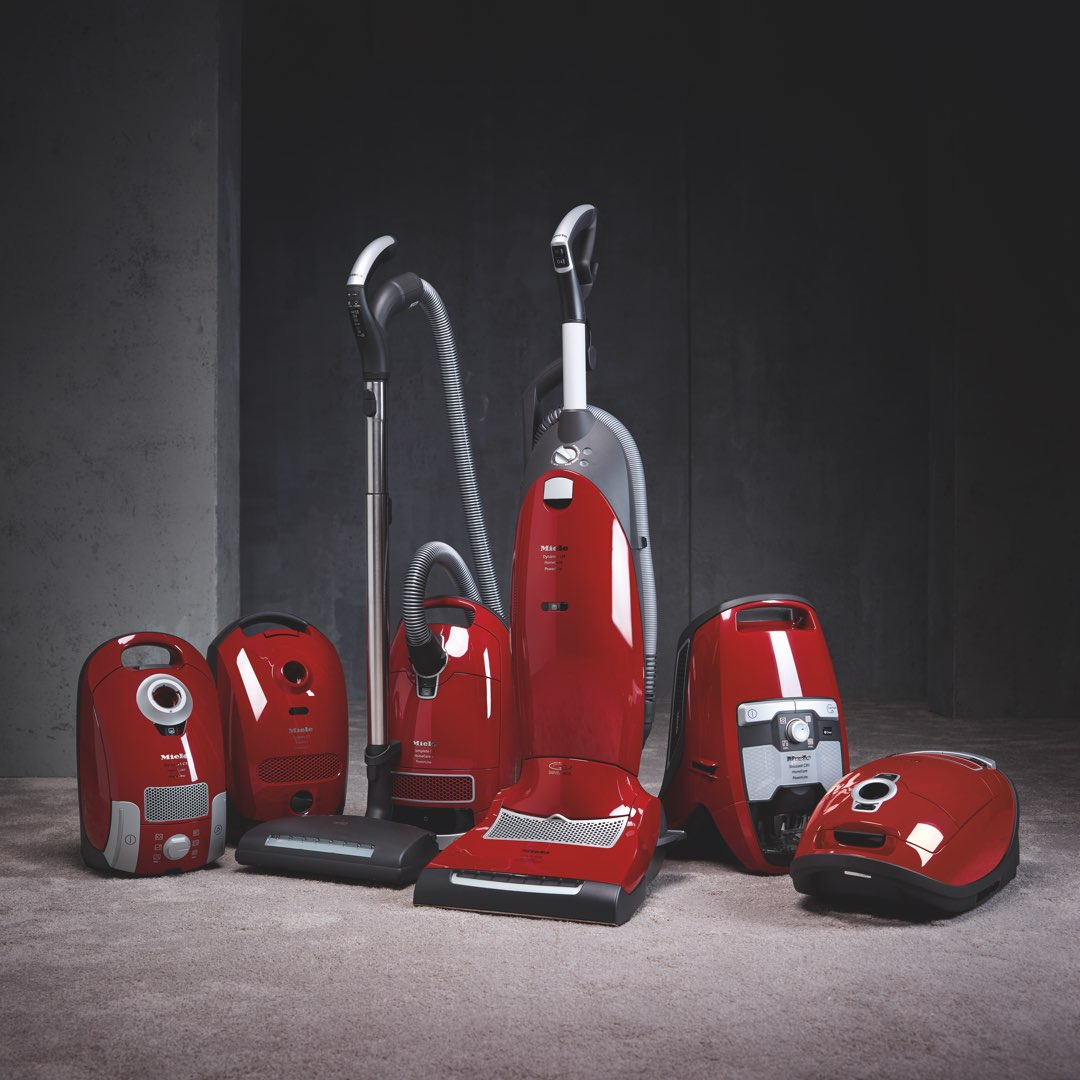 Miele canisters and upright HomeCare vacuum cleaners line