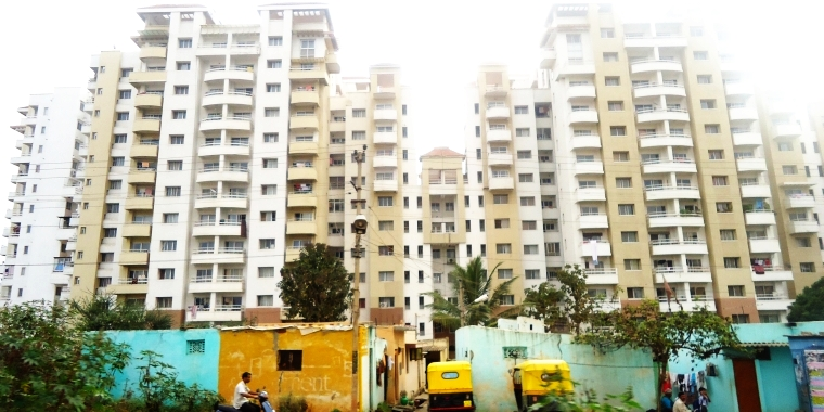 Picture of a Cluster of huge highrise apartments in Bangalore