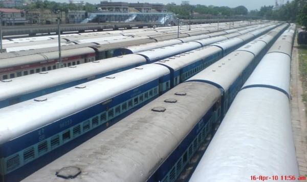 Parked trains at Thiruvananthapuram (TVC) Railway Station Yard