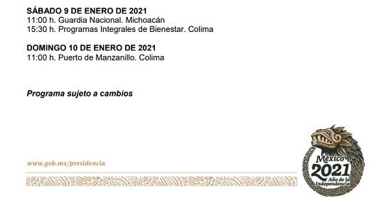 Estará AMLO en Colima los días 9 y 10 de enero