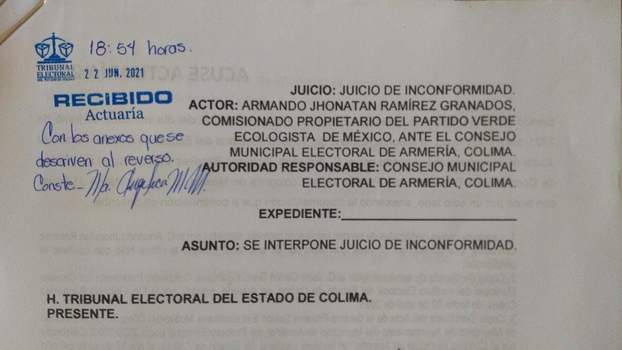 Partido Verde presenta impugnación en proceso electoral de alcaldía en Armería