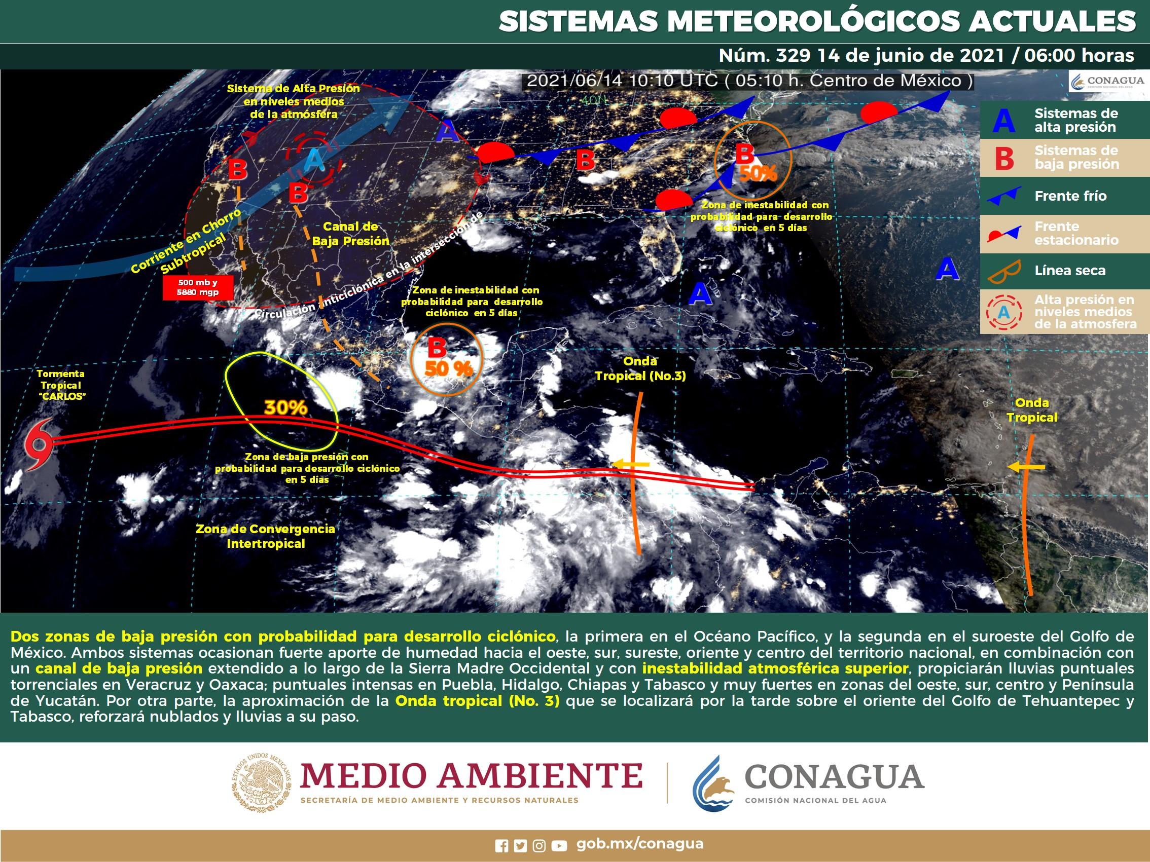 Pronostica SMN lluvias puntuales fuertes en Nayarit, Jalisco, Colima y Michoacán