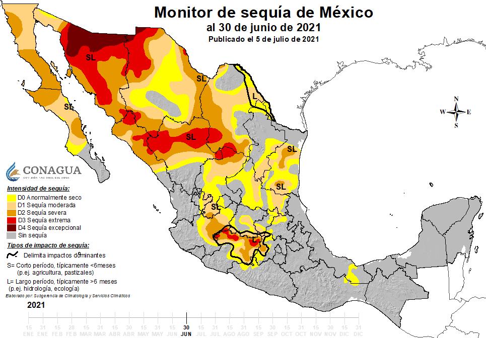 La sequía se ha reducido significativamente por los ciclones tropicales en el occidente de México