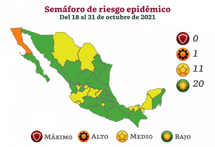 Son 20 ya los estados en color verde del semáforo epidemiológico, Colima seguirá en amarillo
