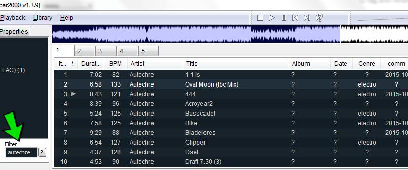 Как быстро находить нужный трек в Foobar