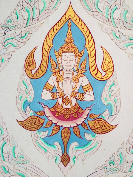 Buddha pattern on the walls of the temple