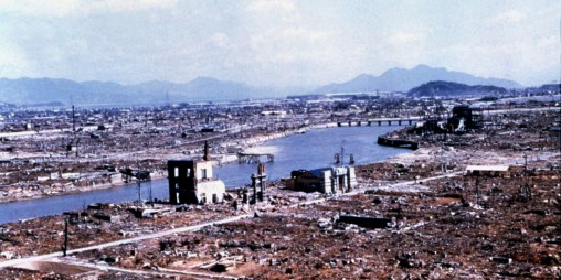 Hiroshima reduced to rubble and ruins by the atomic bomb