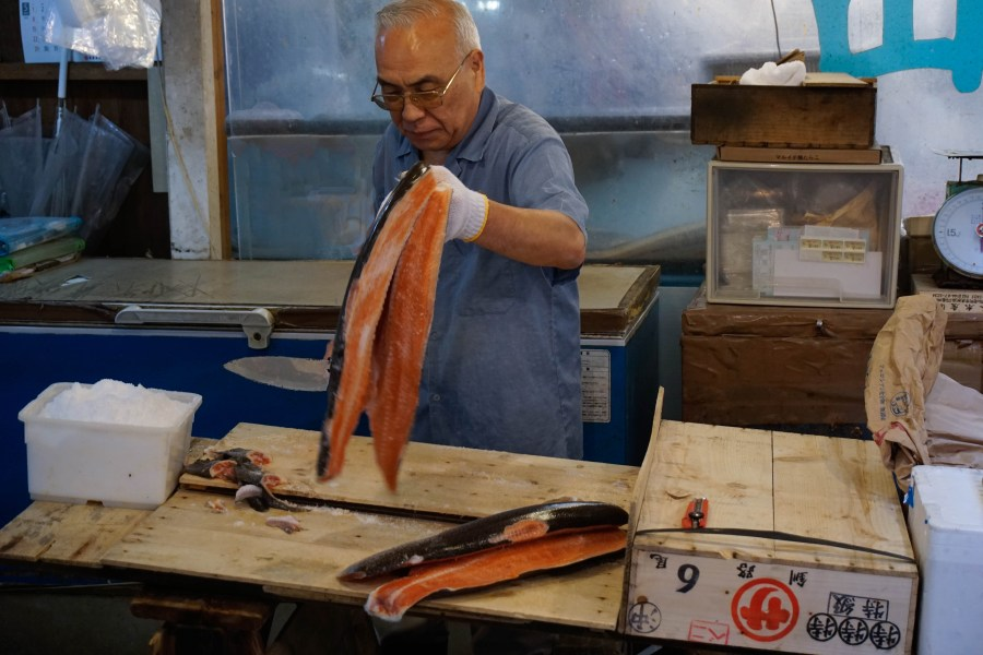 Besides tuna, plenty of smaller fishes are being prepared and sold at the market. Salting salmons.