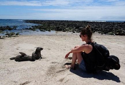 voyage aux Galápagos bébé lion de mer et moi