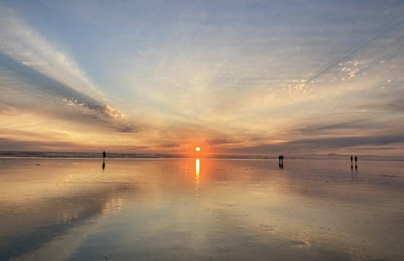 Coucher de soleil à Wickaninnish beach, Ucluelet