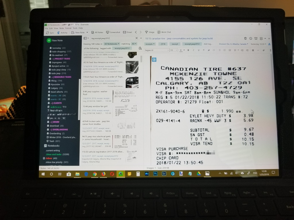 using evernote to track vehicle and trip expenses - easy to sort and track
