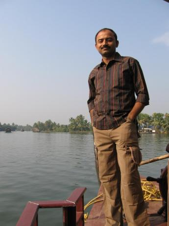 In the backwaters of Alaphuza in Kerala, deemed as God's own country.