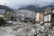 Kedarnath shrine, one of the holiest of Hindu temples dedicated to Lord Shiva, and other buildings are seen damaged on Thursday following heavy rains and flood in Uttarakhand.