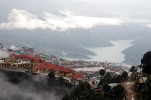 New Tehri town with the portion of Bhagirathi river in the background, where old one was submerged