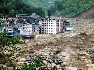 Chamoli: A view of Govindghat area partly submerged in the flooded Alaknanda river in Chamoli district on Monday followed by heavy rains in Uttarakhand. Govindghat mainly caters to pilgrims and tourists going to Hemkund and Valley of flowers