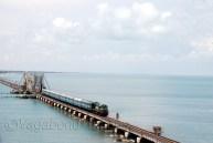 Train from Madurai crossing the bridge to enter the Pamban island
