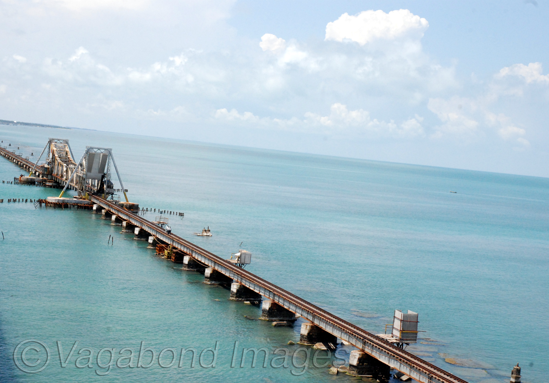 Bridge was built by Britishers to Dhanushkodi port on Pamban island