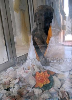 Mummy inside the glass cabin