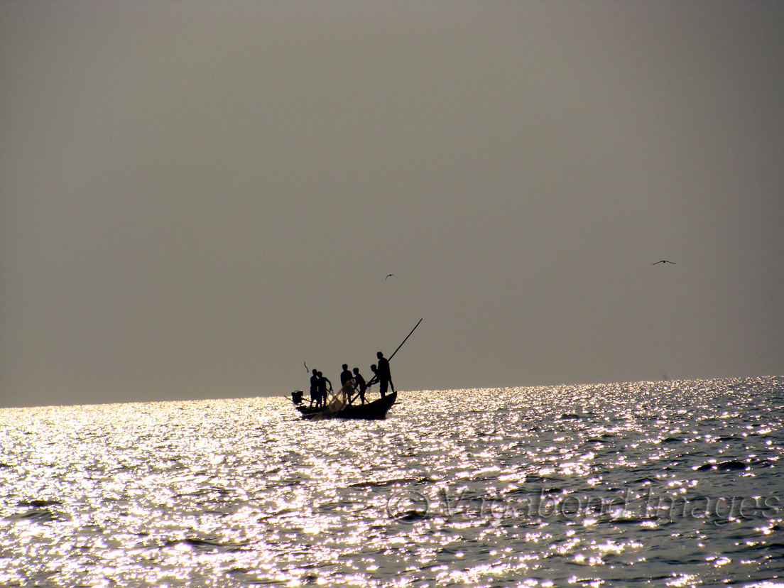 Fishermen in Chilika Lake in Odisha, India