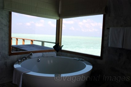 Windows to sea, while relaxing in a jacuzi