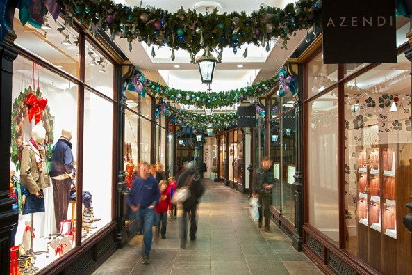 Morgan Arcade with Christmas decorations at Cardiff © Crown copyright (2013) Visit Wales