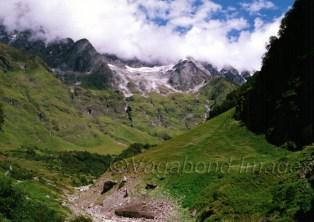 Somewhere far behind the snow peaks is the Badrinath shrine