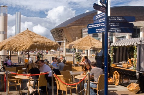 Open-air cafe area (with Millennium Centre to rear), Cardiff Bay, Cardiff