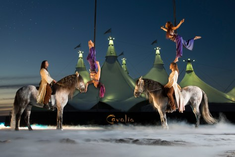 Cavalia Gregory Molina with Licentiat and Julien Beaugnon with Gaditano and on the Bungees are Gabrielle Martin and  Jennifer LŽcuyer at West Beach.