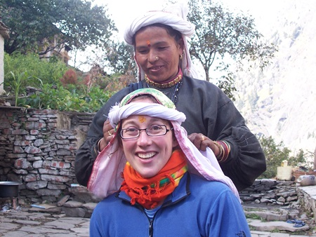 Mountain_shepherds_Guests in traditional head scarf
