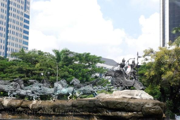 Arjuna Wijaya, a scene from Mahabharata at a square in Jakarta