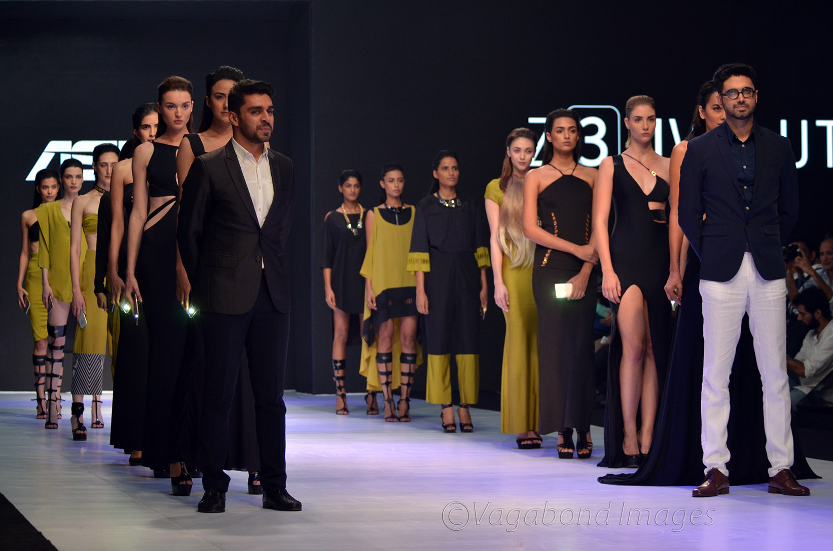 Models with designer duo