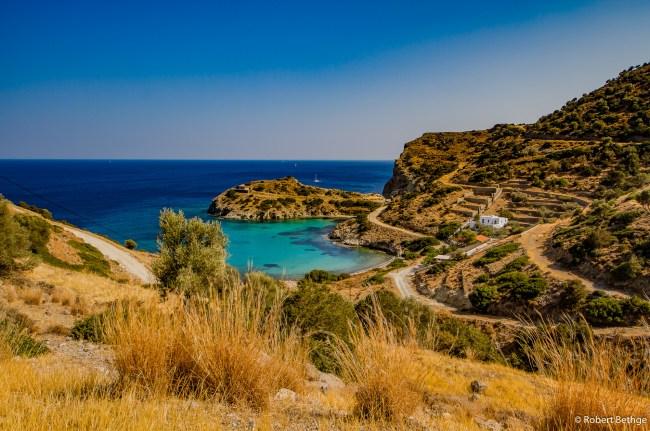 green bay and blue ocean on greek island of aegina