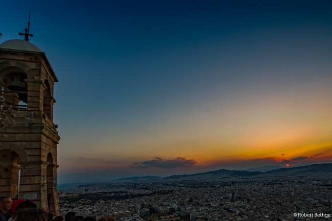 Sunset from Athens Mount Lycabettus
