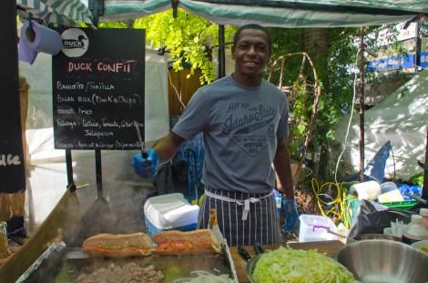Puesto de comida en el mercado de Camden