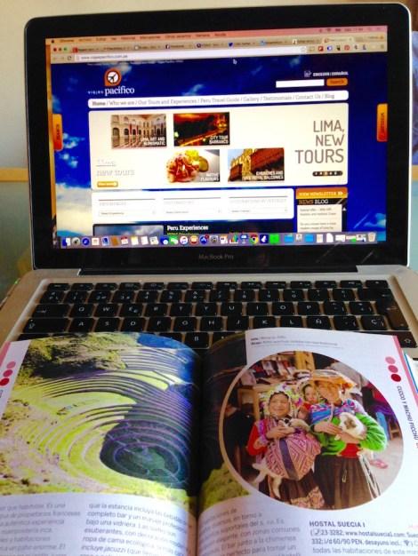 Organizando y decidiendo el itinerario y las visitas a Perú: consultando webs, blogs y la guía