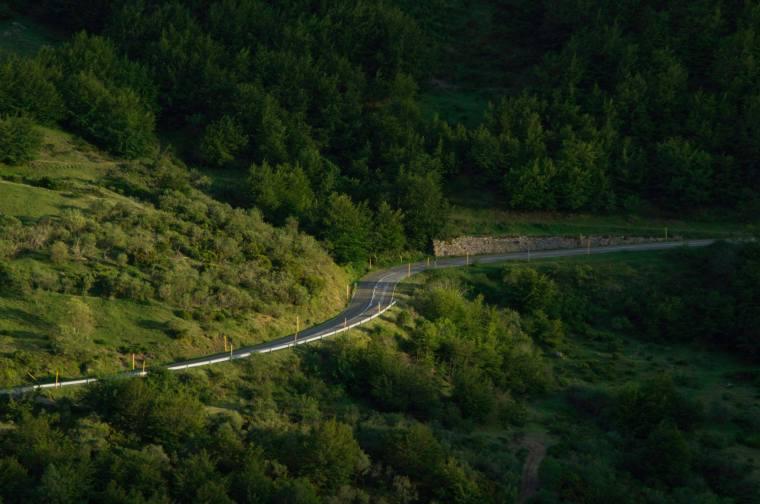 La carretera que lleva al Puerto de Somiedo con sus verdes paisajes enmarcándola